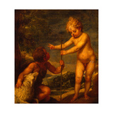 Christ and John the Baptist as Children, Ca 1665 Giclee Print by Alonso Cano