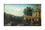 Architectural Capriccio with a Palace, C. 1766 Giclee Print by Bernardo Bellotto