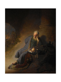 Jeremiah Lamenting the Destruction of Jerusalem, 1630 Giclée-tryk af  Rembrandt van Rijn