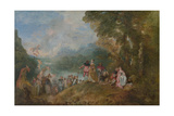 Pilgrimage to Cythera (Embarkation for Cyther), 1717 Giclee Print by Jean Antoine Watteau