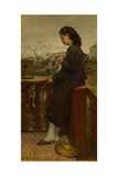 Girl Knitting on a Balcony, Montmartre, 1869 Giclee Print by Jacob Maris