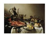Table with Lobster, Silver Jug, Big Berkemeyer, Fruit Bowl, Violin and Books, 1641 Impression giclée par Pieter Claesz