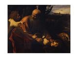 Abraham Sacrificing Isaac, 1603-1604 Giclée-tryk af Caravaggio