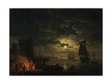 The Port of Palermo in the Moonlight, 1769 Giclee Print by Claude Joseph Vernet