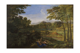 Landscape with Two Nymphs and a Snake, Ca 1659 Giclee Print