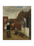 A Woman and Her Maid in a Courtyard, Ca 1661 Giclee Print by Pieter de Hooch