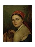 A Peasant Girl, C. 1824 Giclee Print by Alexei Gavrilovich Venetsianov