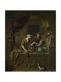 A Woman and a Fish-Pedlar in a Kitchen, 1713 Giclee Print by Willem Van Mieris