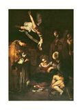 Nativity with St. Francis and St. Lawrence, 1609 Giclée-tryk af Caravaggio