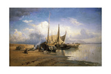 View of the Volga. Boats, 1870 Giclee Print by Fyodor Alexandrovich Vasilyev
