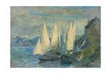 Barques Aux Grandes Voiles Sur Le Lac Léman À Meillerie En Haute-Savoie Giclee Print by Albert Lebourg