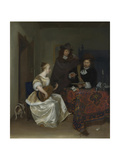 A Woman Playing a Theorbo to Two Men, Ca 1668 Giclee Print