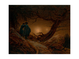 Two Men Contemplating the Moon, Ca 1820 Gicléedruk van Caspar David Friedrich