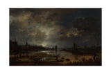 A River Near a Town, by Moonlight, C. 1645 Giclee Print by Aert van der Neer