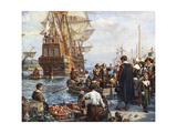 Pilgrim Fathers Boarding the Mayflower Giclee Print