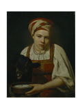 A Peasant Girl with a Calf, End 1820S Giclee Print by Alexei Gavrilovich Venetsianov