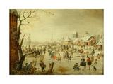 A Scene on the Ice, C.1630 Giclée-tryk af Hendrick Avercamp