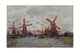 Mills at Westzijderveld Near Zaandam, 1871 Impressão giclée por Claude Monet