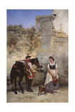 Scene at the Well, 1890 Giclee Print by Gottfried Willewalde