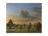 Golfers on the Ice Near Haarlem, 1668 Giclee Print by Adriaen van de Velde