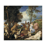 The Bacchanal of the Andrians, 1523-1526 Giclee Print