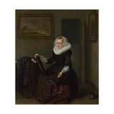A Woman Holding a Mirror, 1625 Giclee Print by Pieter Codde
