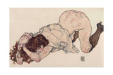 Kneeling Girl, Resting on Both Elbows, 1917 Giclee Print by Egon Schiele