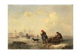 Neva in Saint Petersburg in Winter, 1844 Giclee Print by Ferdinand Theodor Hildebrandt
