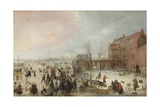 A Scene on the Ice Near a Town, C. 1615 Giclee Print by Hendrick Avercamp