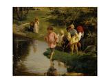 Children Fishing, 1882 Giclee Print by Illarion Mikhailovich Pryanishnikov