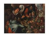 The Fruit and Vegetable Seller, C. 1618 Giclée-tryk af Joachim Wtewael