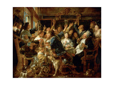 The Feast of the Bean King, Ca 1640-1645 Giclee Print by Jacob Jordaens