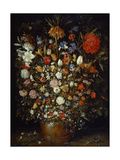 Flowers in a Wooden Vessel, Ca 1606 Giclée-Druck von Jan Brueghel the Elder