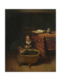 A Little Girl Rocking a Cradle, C. 1655 Giclee Print by Nicolaes Maes