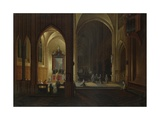 An Evening Service in a Church, 1649 Giclee Print by Pieter Neeffs the Elder