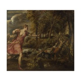 The Death of Actaeon, Ca 1559-1575 Giclée-tryk af  Titian (Tiziano Vecelli)