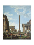A Capriccio with Roman Ruins and a Scene from the Life of Belisarius Giclee Print by Giovanni Paolo Panini