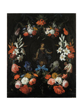 Garland of Flowers, Ca 1675 Giclee Print by Abraham Mignon