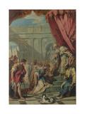 Esther before Ahasuerus, Ca 1730 Giclée-tryk af Sebastiano Ricci