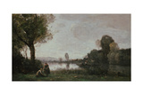 Seine Landscape Near Chatou, 1885 Giclee Print by Jean-Baptiste Camille Corot