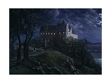 Castle Scharfenberg at Night, 1827 Giclee Print by Ernst Ferdinand Oehme