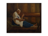 Girl on a Hay Mattress Giclee Print by Alexei Gavrilovich Venetsianov