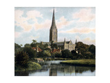 Salisbury Cathedral as Seen from the River Avon, Salisbury, Wiltshire, Early 20th Century Giclee Print