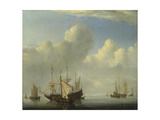 A Dutch Ship Coming to Anchor, 1657 Giclée-Druck von Willem Van De Velde The Younger