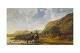 River Landscape with Riders, 1655 Giclee Print by Aelbert Cuyp