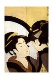 A Beauty before the Mirror, C1793 Gicléetryck av Kitagawa Utamaro