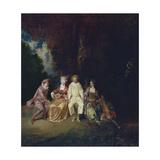 Pierrot Content, Ca 1712 Giclée-tryk af Jean Antoine Watteau