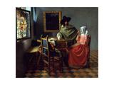 The Glass of Wine, Ca 1661 Giclée-tryk af Jan Vermeer