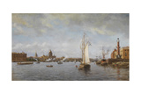 View of the Neva at the Vasilyevsky Island, 1898 Giclee Print by Alexander Karlovich Beggrov