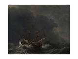 Three Ships in a Gale, 1673 Giclee Print by Willem Van De Velde The Younger